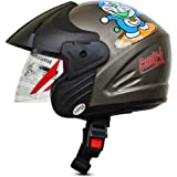 ACTIVE Junior Open Face Face Helmet for Kids from 3 to 6 Years (S-BLACK,Size-Extra Small)(CARTOON CHARACTERs MAY VERY) (S-BLACK)