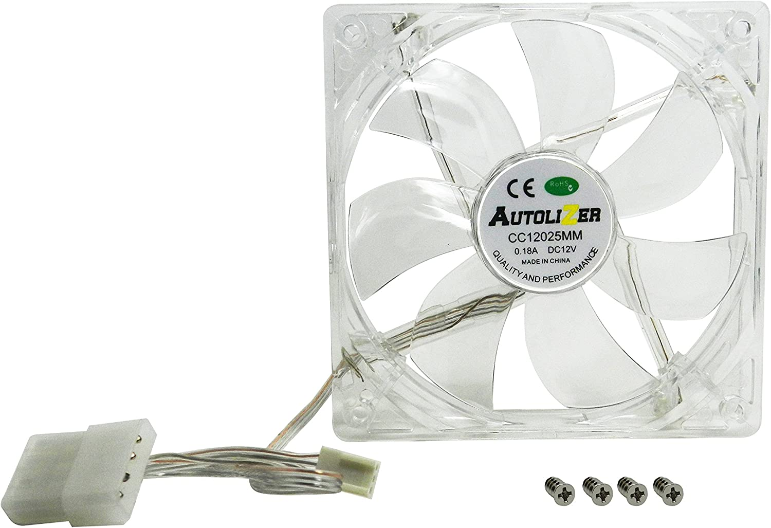 High Airflow and Transparent Clear White Quad 4-LEDs and Radiators Quite - 2 Years Warranty CPU Coolers Autolizer Sleeve Bearing 120mm Silent Cooling Fan for Computer PC Cases