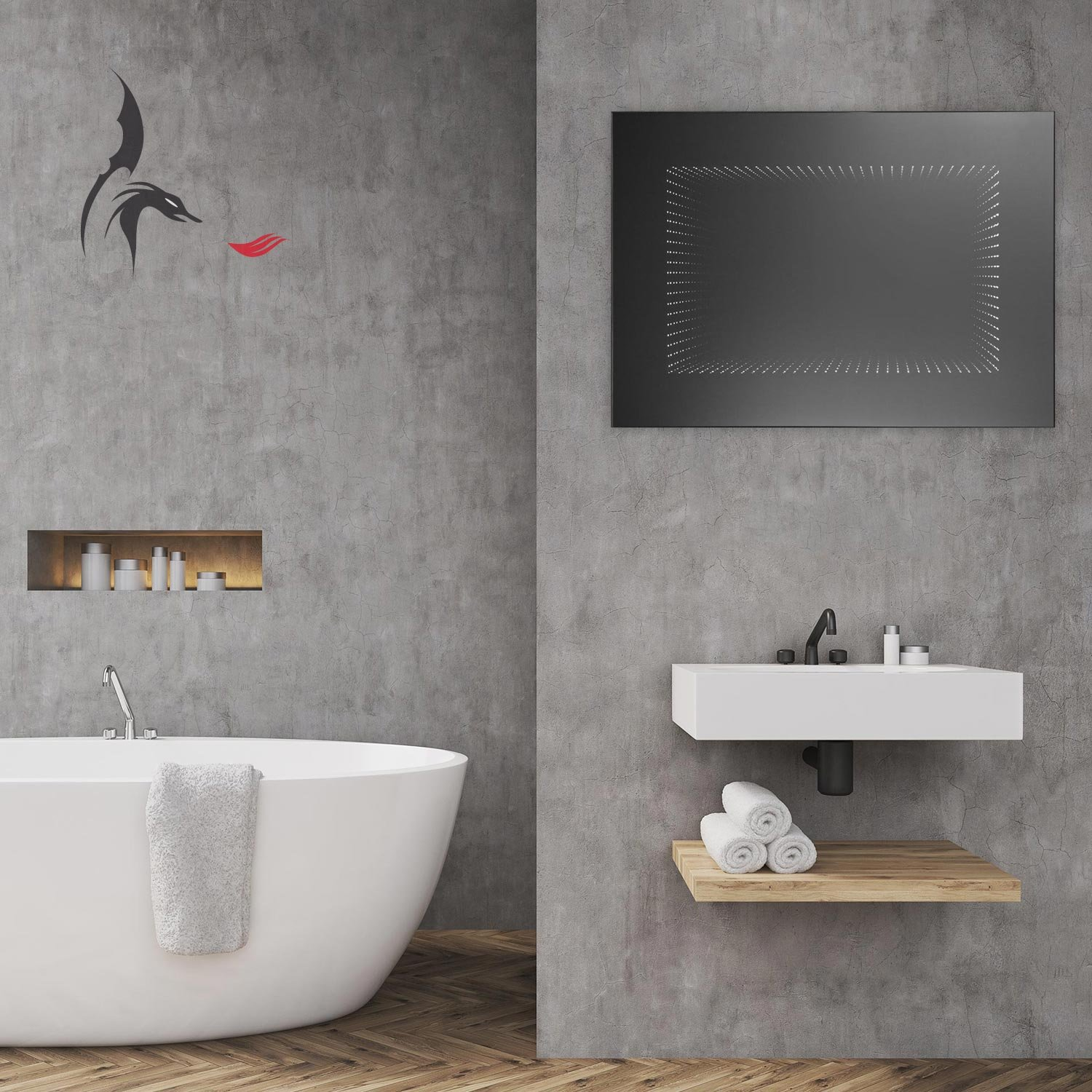 3d Led Bathroom Mirror Infinity Leipzig 70 X 50 X 7 Cm Light Mirror With Led Tunnel Effect Energy Class A Weee Reg No De 40647673 Buy Online In Albania At Albania Desertcart Com Productid 61829868