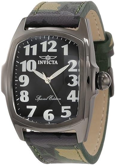 Invicta 1026 - Reloj para hombres, correa de cuero color verde