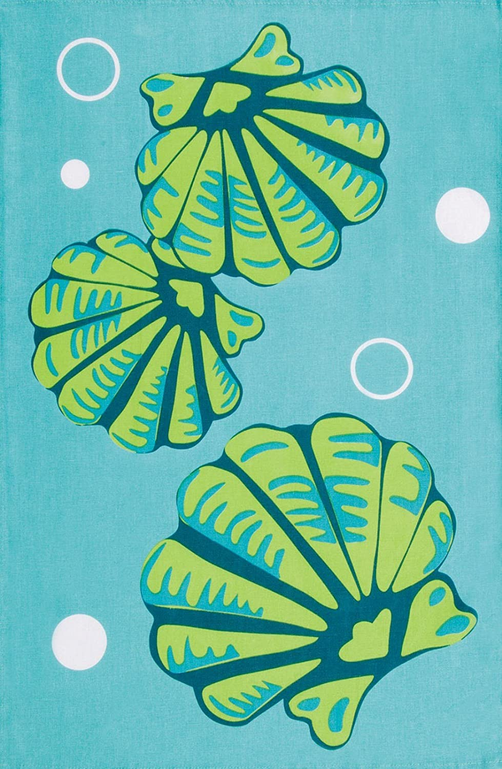 Coastal Blue and Green Seashells Printed 100% Cotton Kitchen Dish Towel C & F Enterprises