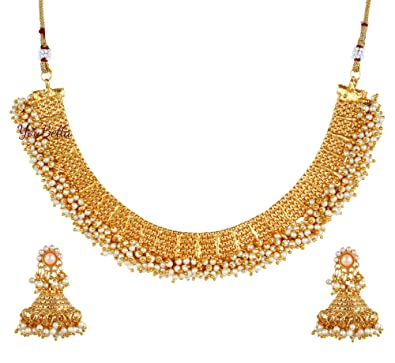 1daeac5852d44 YouBella Latest Pearl Temple Coin Traditional Necklace Set for Women Party  wear Jewellery Set with Earrings for Women