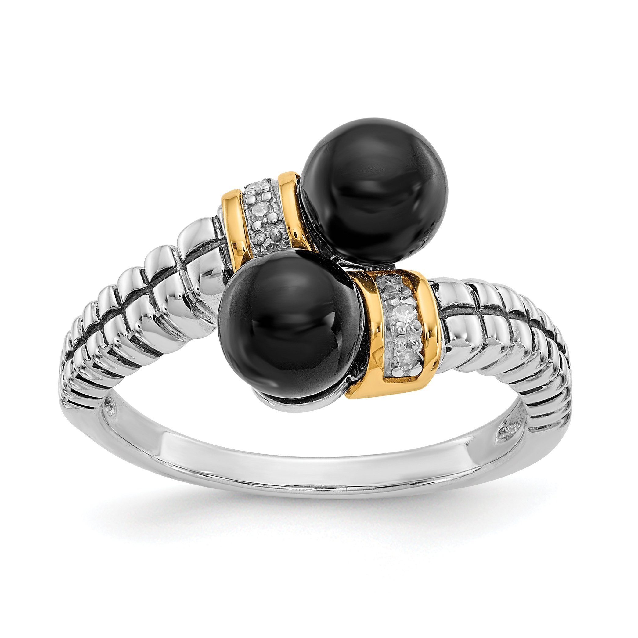 ICE CARATS 925 Sterling Silver 14k Black Onyx Diamond Band Ring Size 7.00 Natural Stone Fine Jewelry Gift Set For Women Heart