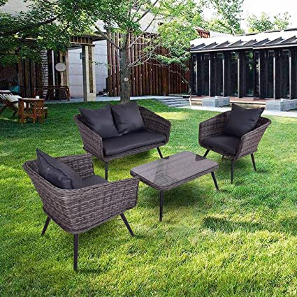 Charmant Tangkula 4 Piece Patio Furniture Outdoor Rattan Wicker Loveseat Sofa  Comfortable Cushioned Seat Garden Lawn Backyard