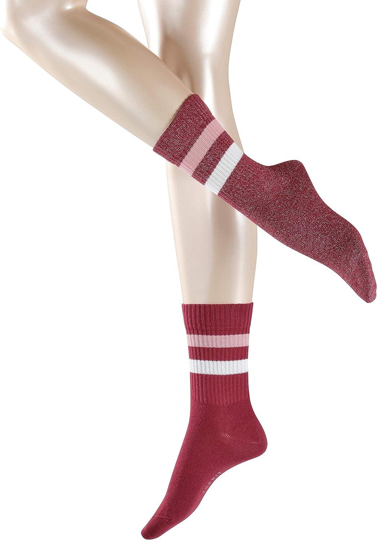 Strumpf mit Rippenstruktur am Schaft und glitzernden Kontraststreifen Baumwollmischung 2 Paare ESPRIT Damen Socken Tennis Gr/ö/ße 35-42 Farben versch