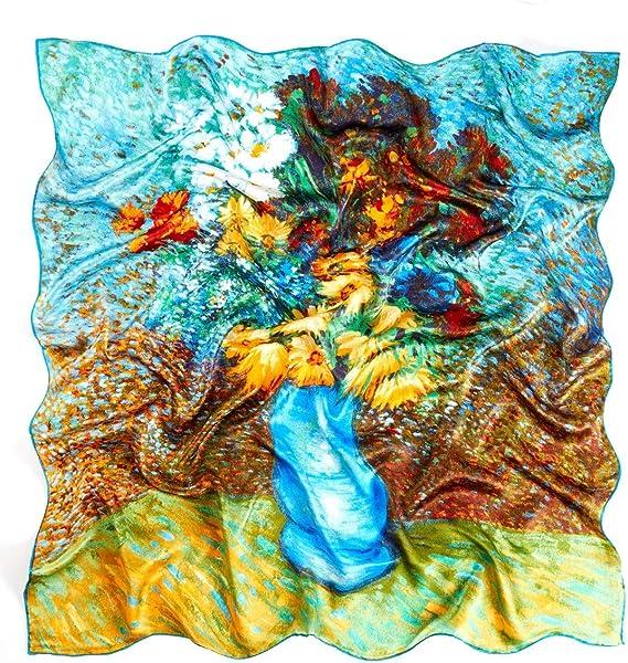 PrettyStern Gustav Klimt Van Gogh Monet Seiden-Tuch 90cm Kunst-Drucke Malerei