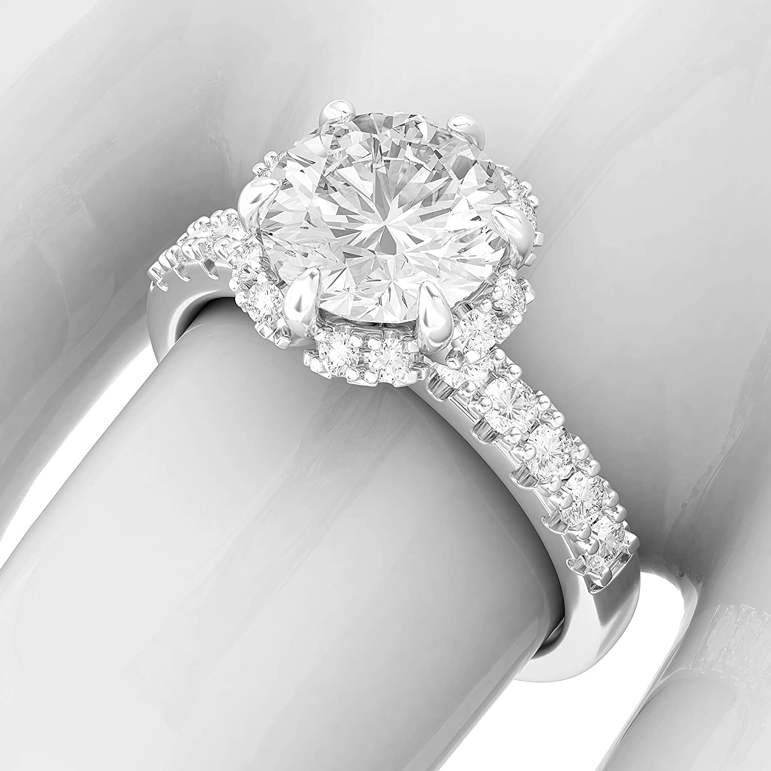 Sterling Silver Flower Style Halo 2CT Simulated Diamond Engagement Ring Promise Bridal Ring For Women