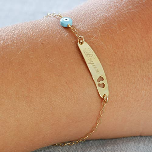 Children s ID bracelet baby jewelry 14k gold custom gold