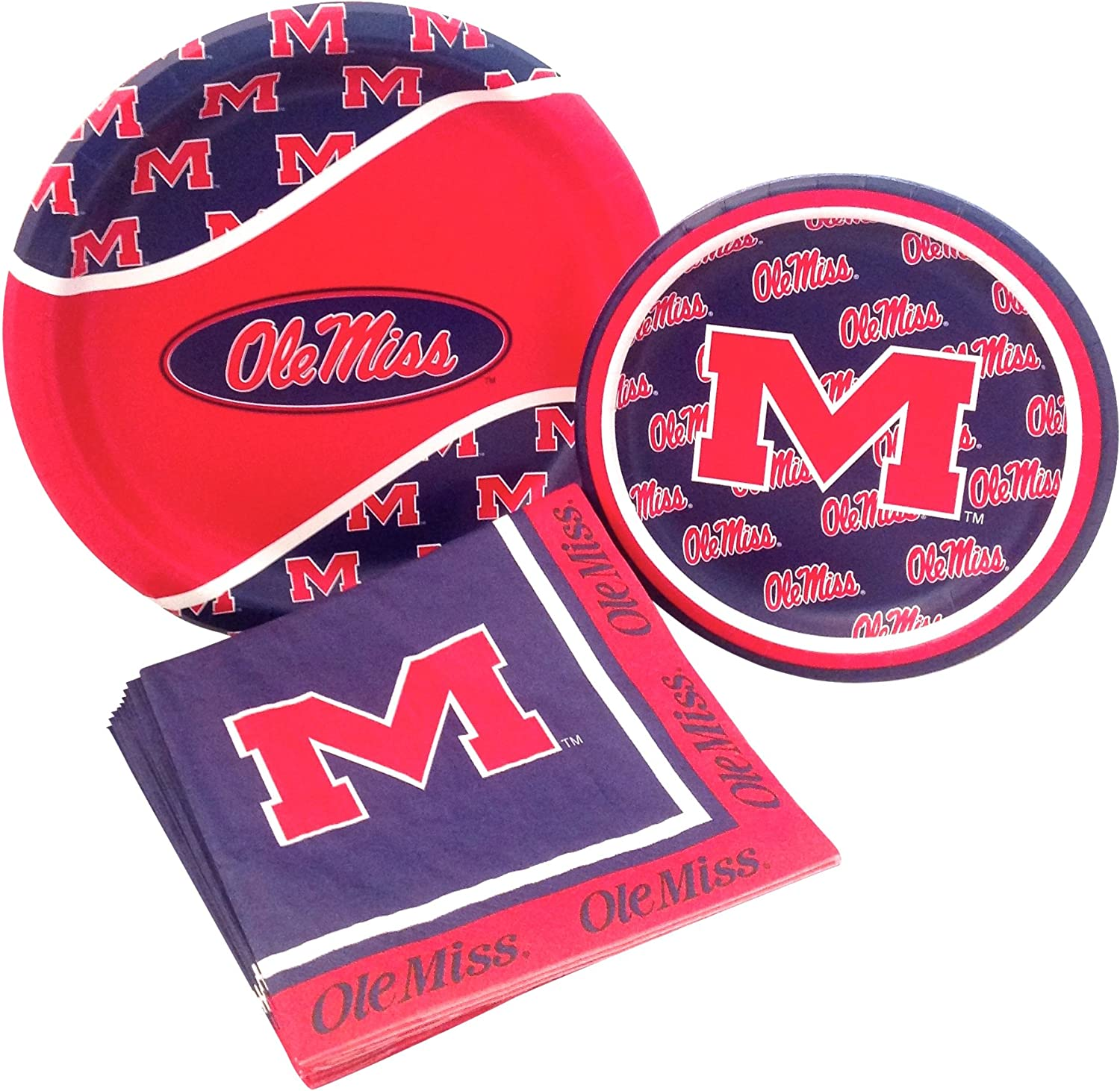 University of Mississippi Rebels Party Supply Pack! Bundle Includes Paper Plates & Napkins for 8 Guests
