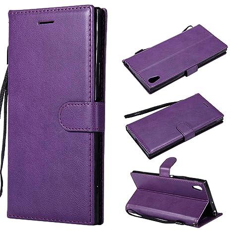 Funda para Sony Xperia E5 Silicona,para Sony Xperia E5 Carcasa Libro de Cuero con Tapa de Holster PU y Silicona Elegante,Ranuras de Tarjetas Case Flip ...
