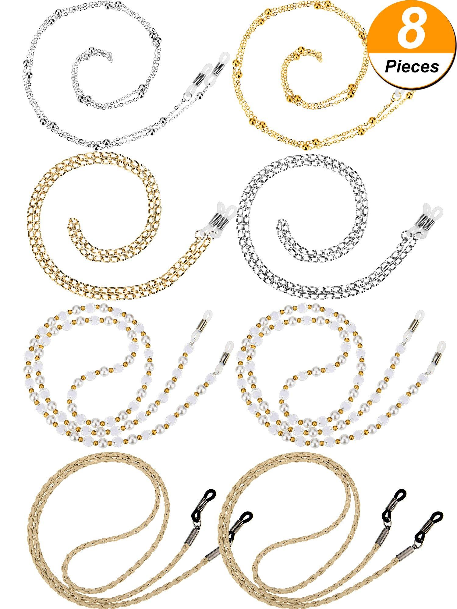 Hestya 8 Pieces Eyeglass Chain Sunglasses Strap Glass Cord Lanyard for Eyeglasses, 4 Styles