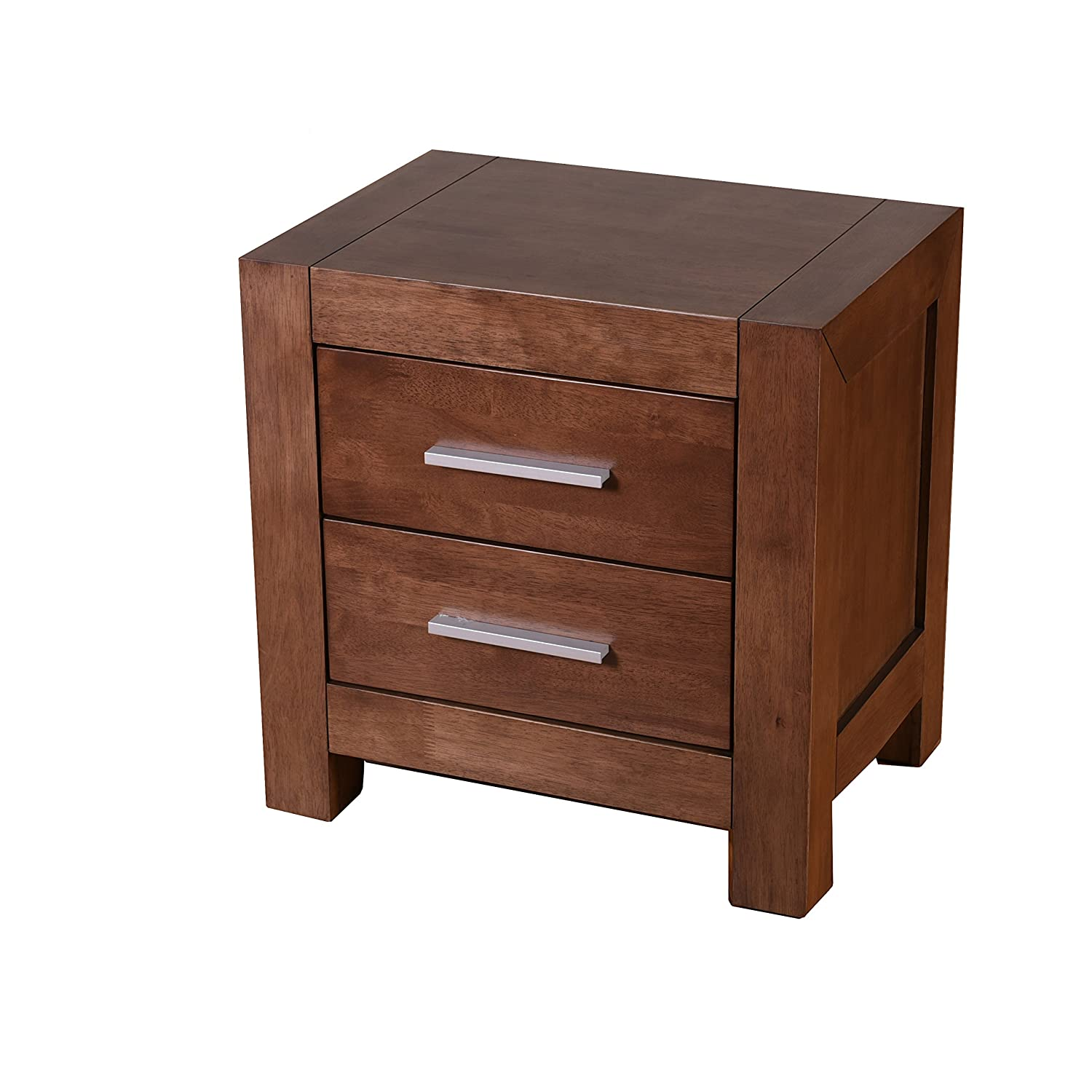 Midtown Concept Michigan Mid-Century Nightstand, Cocoa, 2 Drawer