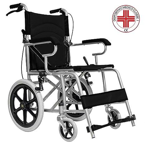 Medicalpharm Carrozzina Pieghevole Per Disabili Sedia Rotelle Spinta Assistita Con Leva Freno Telaio In Alluminio A Doppia Crociera Tasca