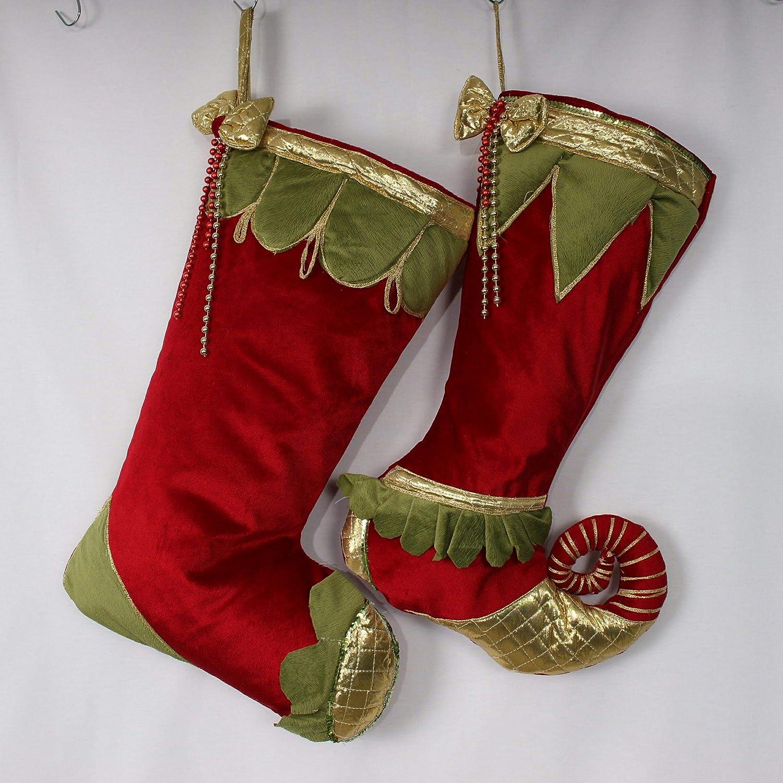 Red Velvet Christmas Stockings.Velvet Christmas Stockings Jester Stockings Luxury