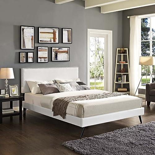 Modway Macie Faux Leather Upholstered King Platform Bed Frame