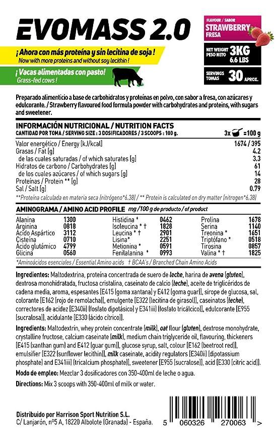 HSN SPORTS Ganador de Peso - Evomass 2.0 - Sabor Chocolate - 3000 g: Amazon.es: Salud y cuidado personal