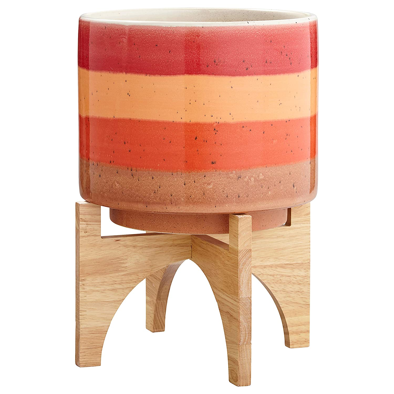 Rivet Mid-Century Modern Ceramic and Bamboo Planter Flower Pot with Stand,14.5 H, Red and Orange