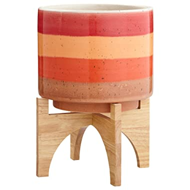 Rivet Mid Century Modern Ceramic and Bamboo Planter Flower Pot with Stand - 14.5 Inch, Red and Orange