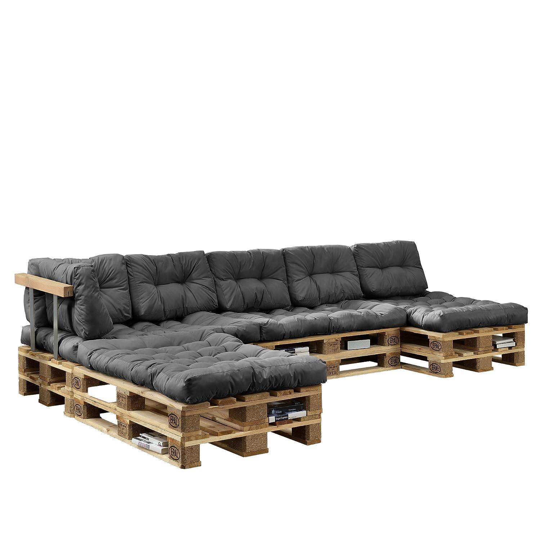 [en.casa] Cojines para sofá de palés europalés - set - 4 cojines de asiento + 6 cojines de respaldo gris claro - muebles DIY - ideal para salón - ...