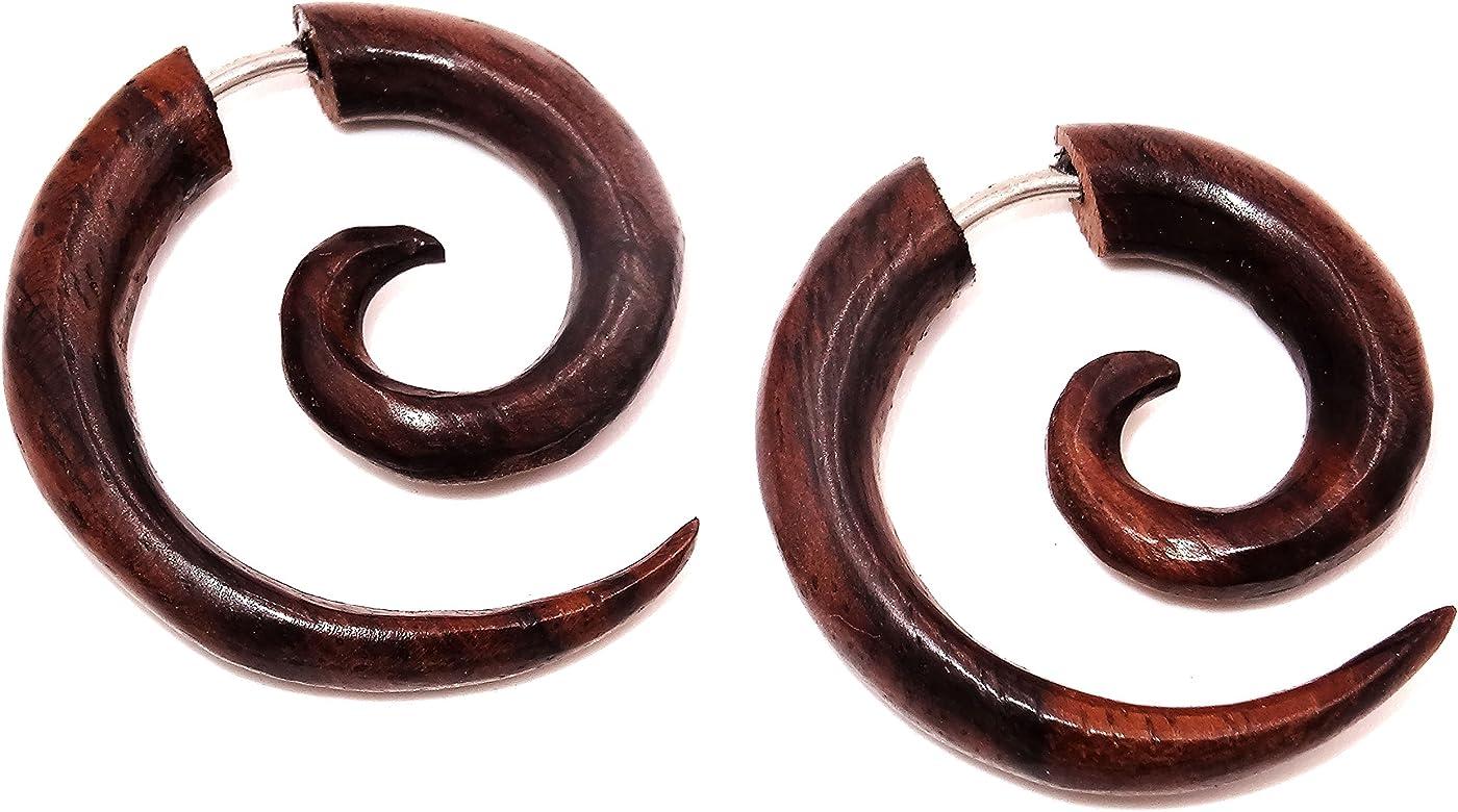 Pendientes falsos dilatadores de madera marrón, unisex, diseño ...