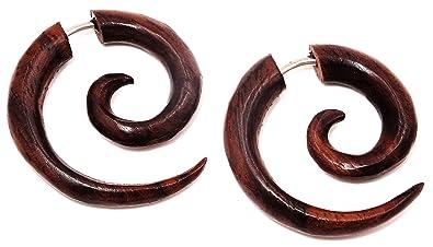 Pendientes falsos dilatadores de madera marrón, unisex, diseño étnico, falsa espiral: Amazon.es: Joyería