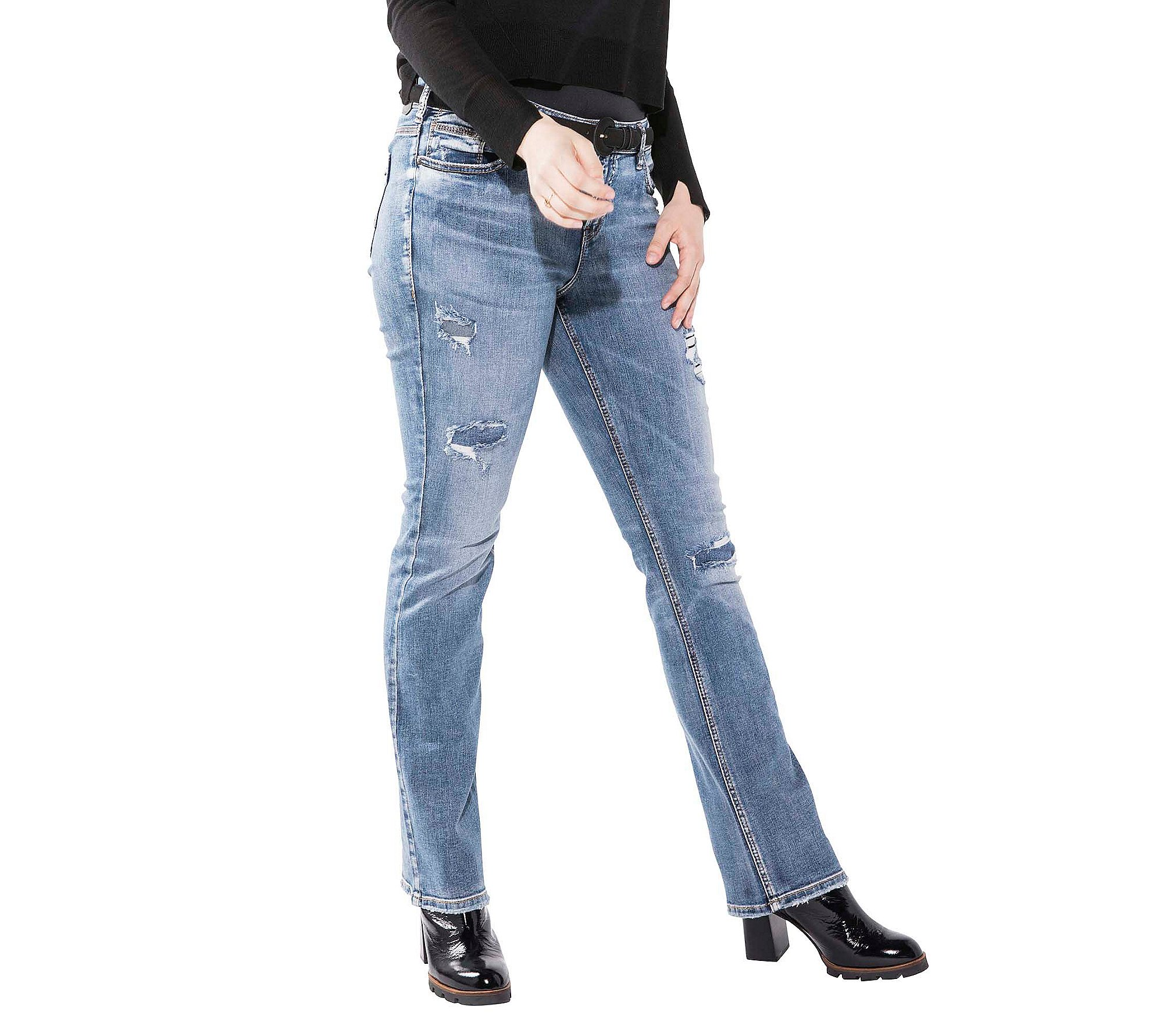 Silver Jeans Co. Plus Size Aiko Slim Boot-Destructed Jeans 18 W