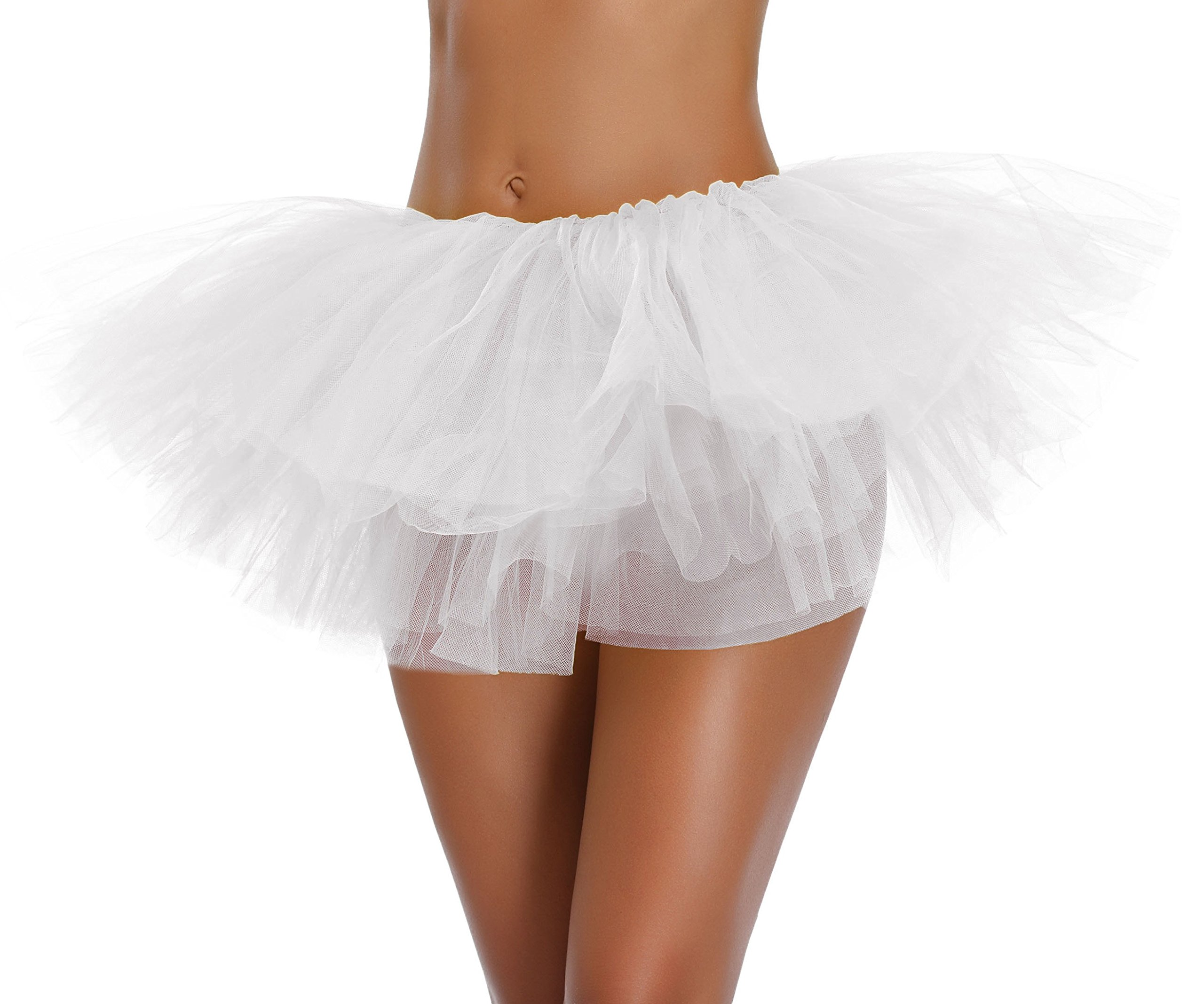 Women's, Teen, Adult Classic Elastic 3, 4, 5 Layered Tulle Tutu Skirt (One Size, White 5Layer)