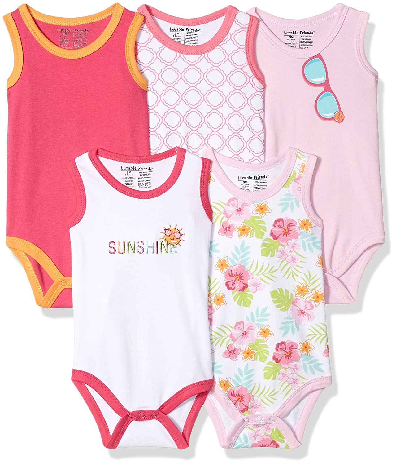 2ce239e49 Luvable Friends Baby 5-Pack Lightweight Sleeveless Bodysuits  Amazon ...