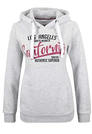 030141ab47c842 Sublevel Damen Sweat-Hoodie mit California Glitzer-Print: Amazon.de ...