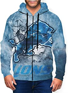 SJNBAKGA Men's Hooded Zipper Shirt Detroit Lion Men's Printed Hoodie-Men's Hooded Sweatshirt