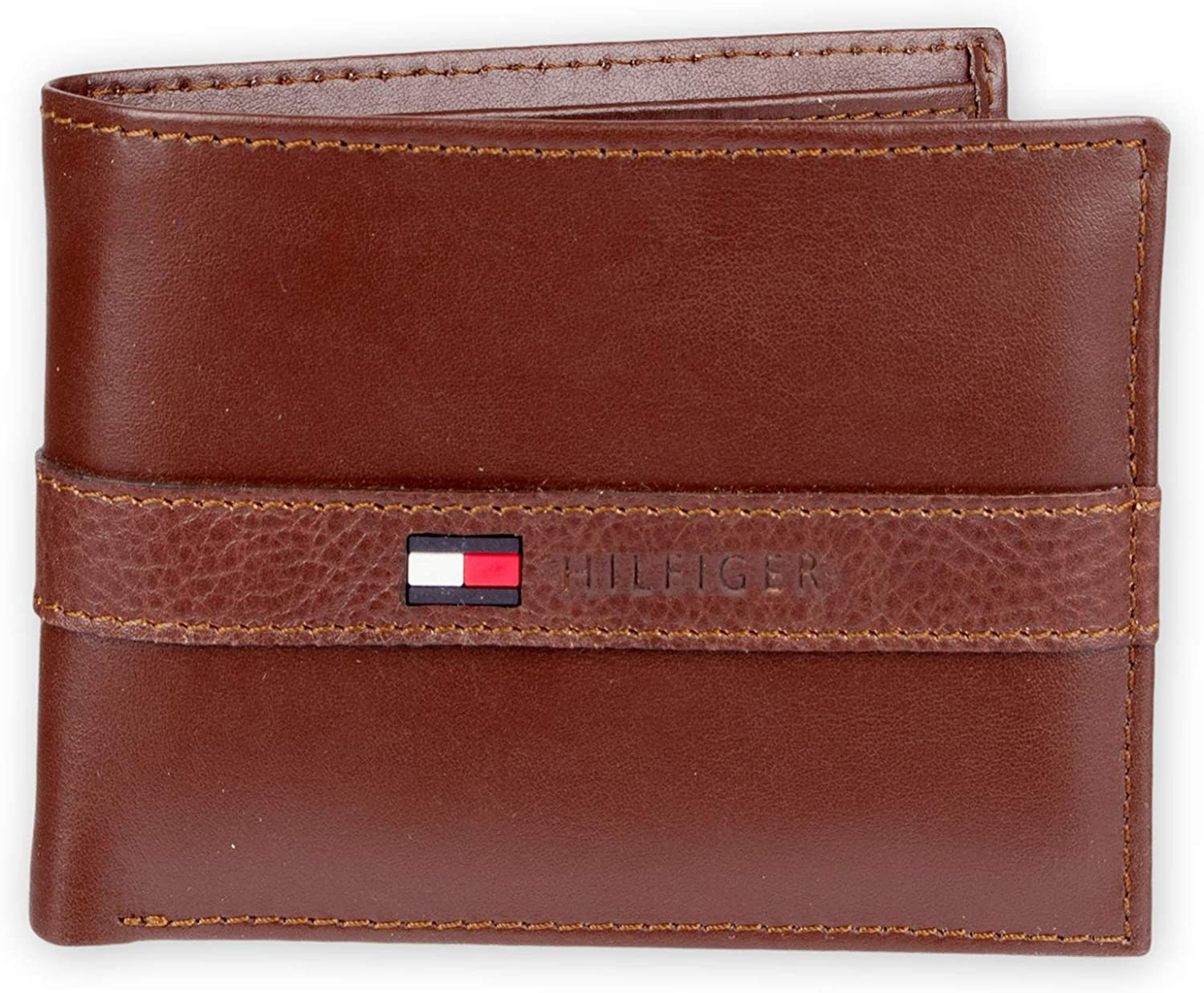 Tommy Hilfiger Mens Thin Sleek Casual Bifold Wallet with 6 Credit Card Pockets and Removable Id Window