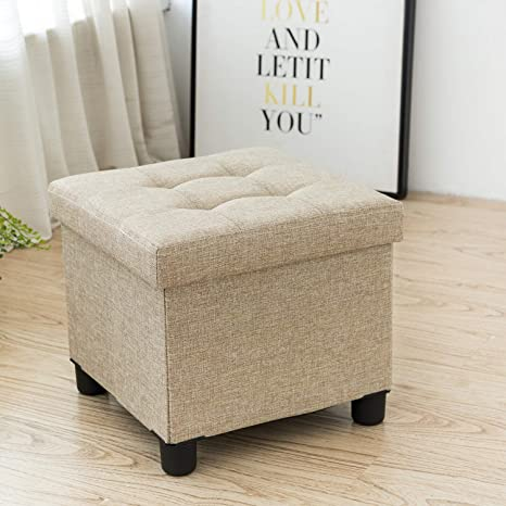 Cassilia Foldable Storage Ottoman Square Cube Coffee Table Multipurpose  Footrest Stool for Bedroom and Living Room Storage