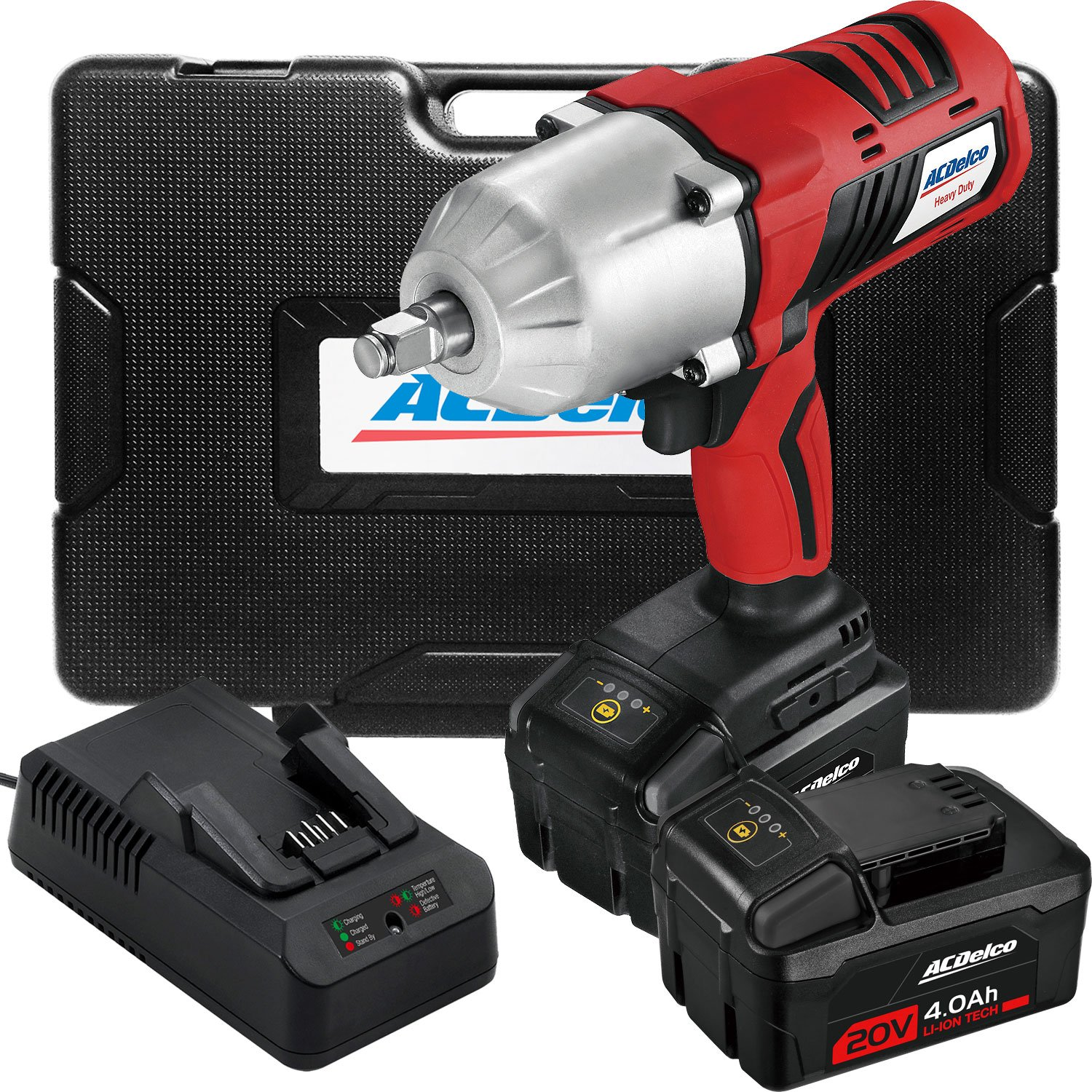 ACDelco Cordless Li-ion 20V JUMBO High Torque Impact Wrench Kit with Friction Ring - 4.0Ah Two Batteries, Fast Charger, and Carrying case,ARI20170