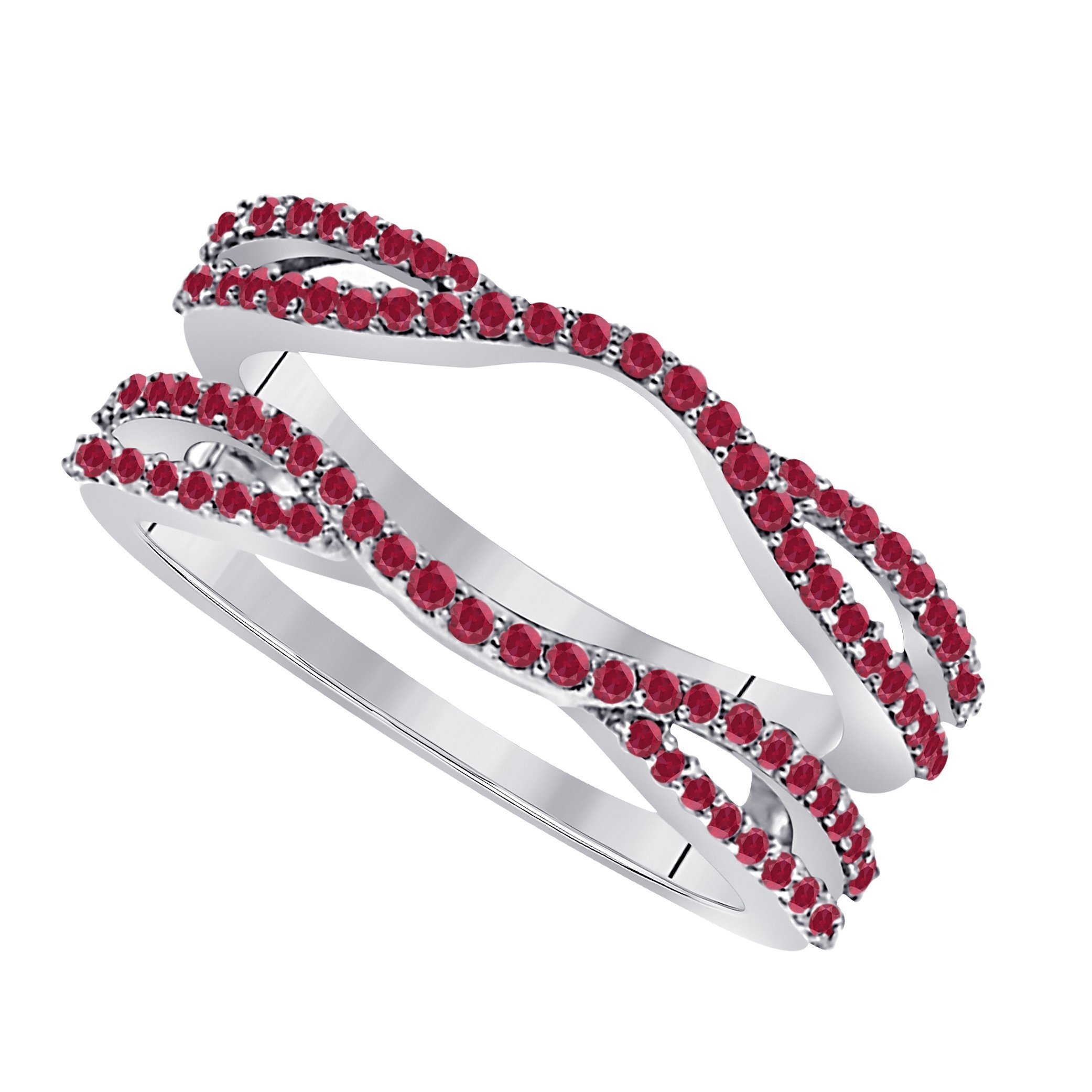 Star Retail 1/2 Ct 14K White Gold Finish Round Cut Lab Created Red Ruby Ladies Anniversary Wedding Band Enhancer Guard Double Chevron Ring