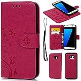 Coque de Protection pour Samsung Galaxy S7 Edge, Phone Case Flip Cover Clapet 2 en 1 PU Cuir avec TPU Souple Fermeture Magnétique Motif Relief Papillon - Rose