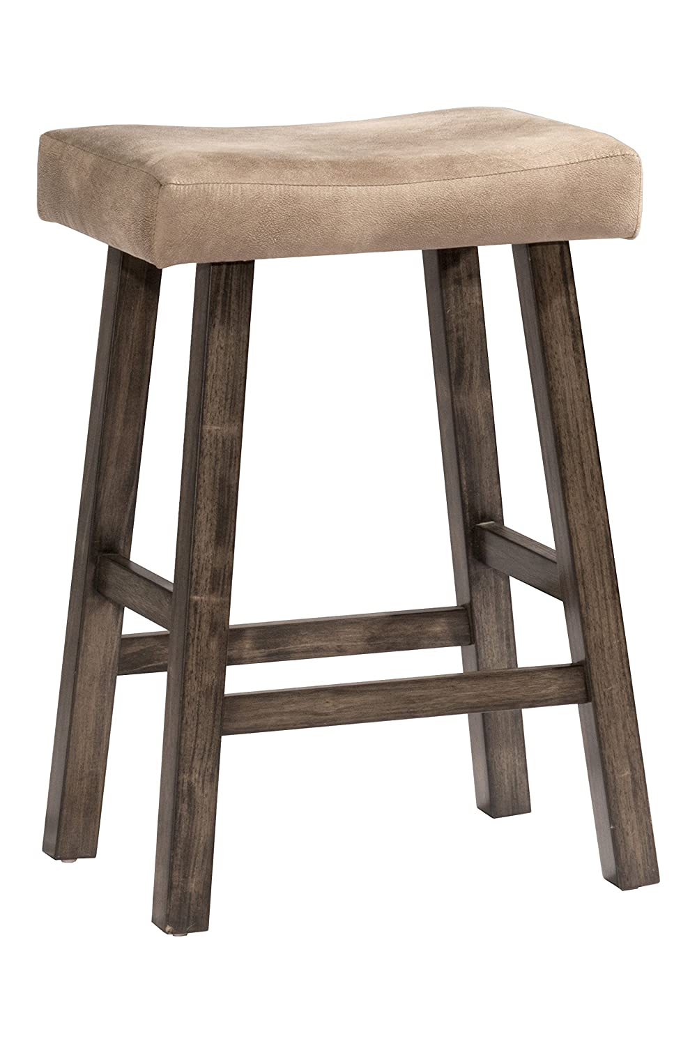 Hillsdale Furniture 4621-826 Saddle Counter Stool, Rustic Gray