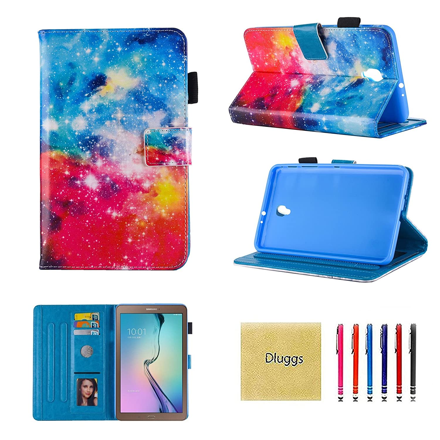 Dluggs Samsung Galaxy Tab A 8.0 2017 Case, T380 Case, Lightweight PU Leather Folio Flip Stand Wallet Case for Samsung Galaxy Tab A 8.0 Inch (2017 Release) SM-T380/T385 Tablet, Love MLGS0773