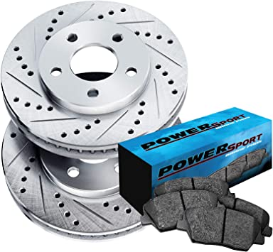 For 2016 Hyundai Sonata Front Rear Black Drill Slot Brake Rotors+Ceramic Pads