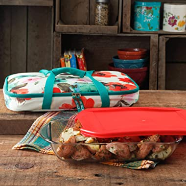 The Pioneer Woman Vintage Bloom Decorated Rectangular Baker with Tote, 3 qt