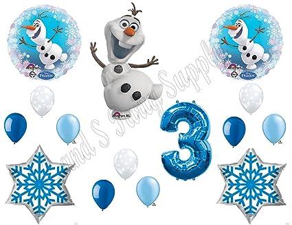 Amazon.com: NUEVO. Olaf 3rd Copos de nieve Globos Fiesta de ...