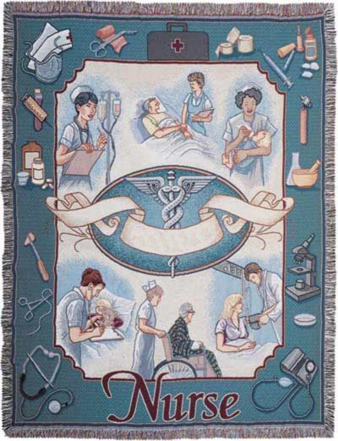 Simply Home Nurse Profession Pictorial Afghan Throw Tapestry Blanket 50 x 70 USA Made SKU RTP007514