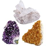 Crystal Allies Specimens: 3 Mineral Starter Pack w/ Natural Amethyst, Citrine, Crystal Quartz Druzy Clusters from Brazil – 1/2lb to 1lb Total