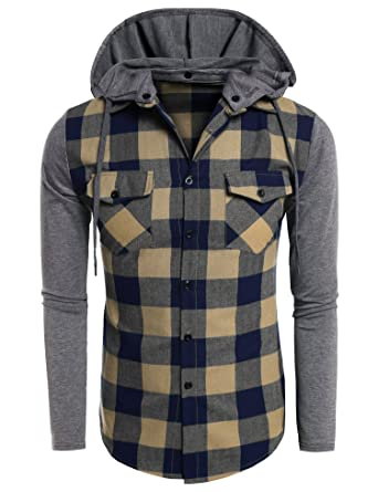 Coofandy Men's Casual Plaid Long Sleeve Button Down Shirt Hooded ...
