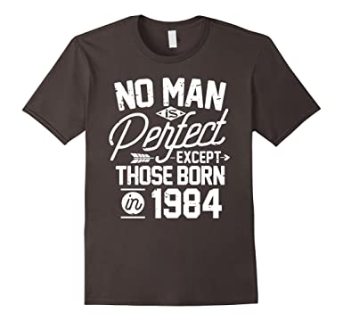 Mens 33rd Birthday Gifts For 33 Years Old No Man Is Perfect 1984 2XL Asphalt