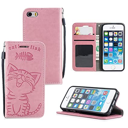 new arrival c3773 e039d Amazon.com: Ostop iPhone 5S Wallet Case,iPhone SE Pink PU Leather ...