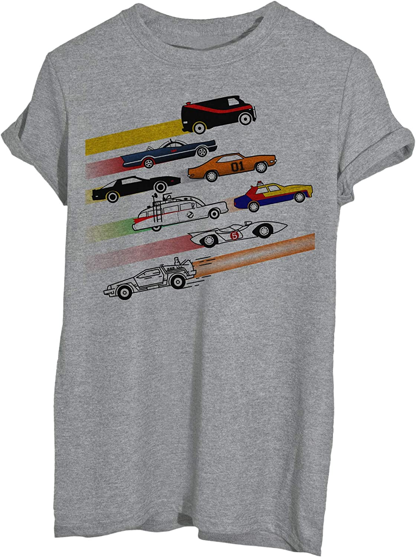 T-Shirt Macchine Famose Anni 80 Ghostbusters Delorean Bat Mobile Supercar A-Team Hazzard Daitarn 3 Mach 5-Famosi