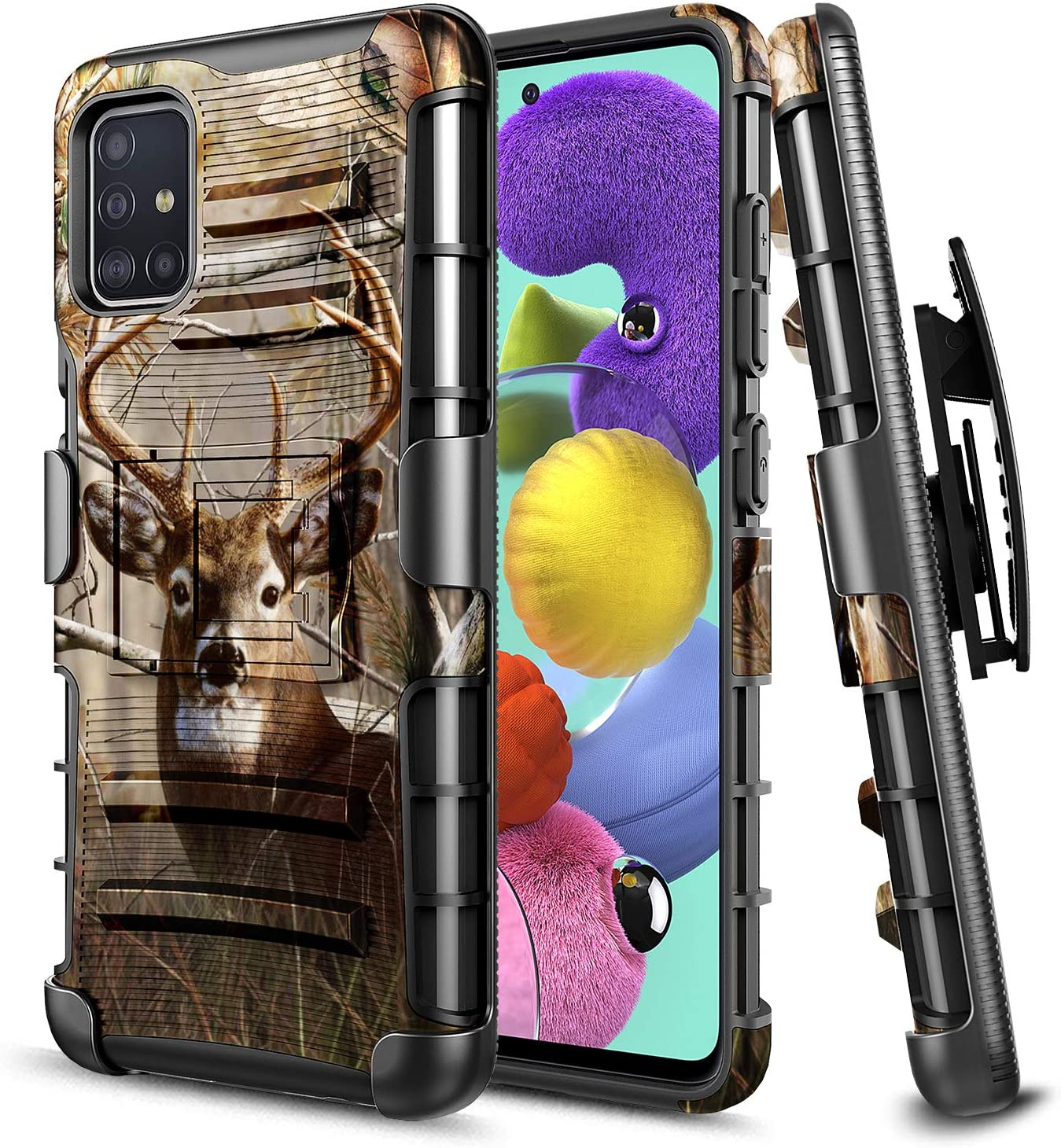 E-Began Case for Samsung Galaxy A51 [Not Fit A51 5G Version], Belt Clip Holster with Kickstand Protective Hybrid Cover Heavy Duty Armor Defender Shockproof Rugged Premium Case -Deer