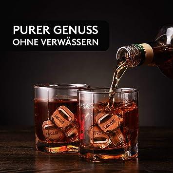 LACARI Juego de cubitos de hielo de acero inoxidable | [8x] Cubitos de hielo reutilizables para ginebra, whisky, ron, vino | Forma de cubito que ...
