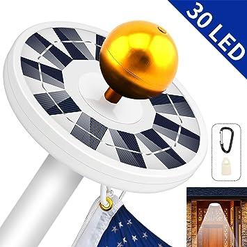 Sunnytech 2018 New 3rd Generation-BLACK Solar Flag Pole Flagpole Light-Latest B