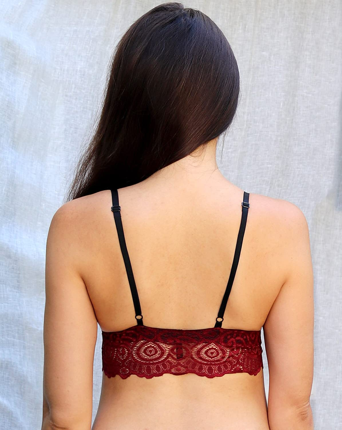 a565d419d5 Burgundy Scalloped Edge Bra Top. Wireless Bra. Handmade Lingerie  Handmade